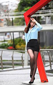 Sfondi desktop Asiatici In posa Gonna Blusa Le gambe giovani donne