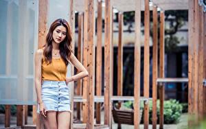Desktop hintergrundbilder Asiaten Pose Rock Unterhemd junge frau