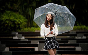 Hintergrundbilder Asiaten Posiert Rock Regenschirm Braune Haare Lächeln Starren