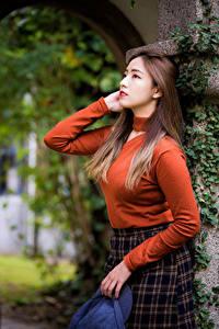 Hintergrundbilder Asiatische Pose Sweatshirt Braune Haare junge frau