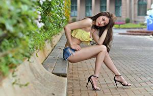 Pictures Asian Sitting Bench Legs Shorts Glance Bokeh Beautiful Girls
