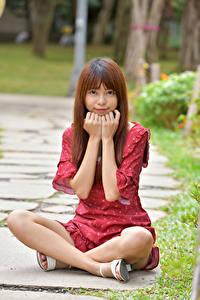 Hintergrundbilder Asiatische Sitzt Kleid Hand Starren Braunhaarige Mädchens