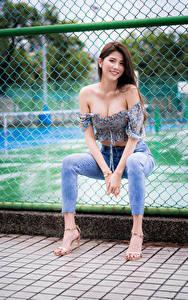 Fotos Asiatische Sitzen Zaun Jeans Bluse Lächeln Blick junge Frauen