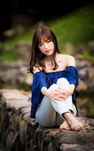 Hintergrundbilder Asiaten Sitzt Starren Unscharfer Hintergrund Braune Haare junge frau