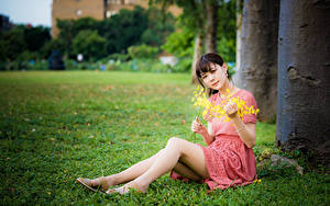 Photo Asiatic Sit Grass Legs Gown Girls