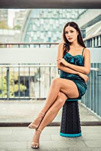 Hintergrundbilder Asiatisches Sitzend Bein Kleid Blick junge Frauen