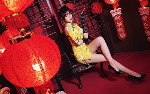 Photo Asian Sit Legs Dress Lantern Glove Glance Girls