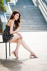 Fotos Asiaten Sitzt Bein Kleid Lächeln Niedlich Braune Haare