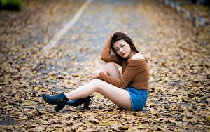 Hintergrundbilder Asiatisches Sitzt Bein Shorts Blattwerk Bokeh Mädchens