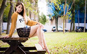 Bilder Asiaten Sitzend Tisch Bein Rock Lächeln Blick junge Frauen