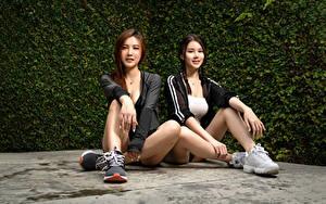 Images Asiatic Sitting 2 Legs Plait Glance Beautiful female