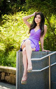 Desktop hintergrundbilder Asiaten Lächeln Kleid Bein Sitzend junge frau