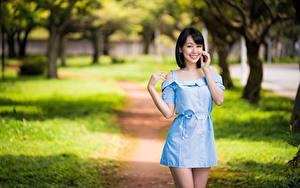 Fotos Asiatische Lächeln Posiert Kleid Starren Bokeh junge frau