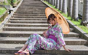 Pictures Asian Stairs Sitting Kimono Umbrella Girls
