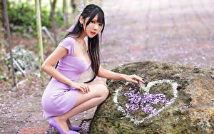 Hintergrundbilder Asiatisches Steine Brünette Posiert Sitzend Kleid Herz Blick Mädchens