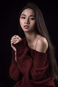 Pictures Asian Sweater Hands Hair Glance female