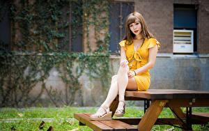 Fotos Asiaten Tisch Sitzen Bein Kleid Starren Mädchens