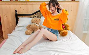 Bilder Asiatische Teddybär Sitzend Bett Bein T-Shirt Blick Mädchens