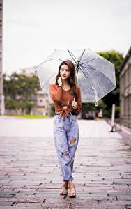 Bilder Asiatisches Regenschirm Jeans Sweatshirt Bokeh Mädchens