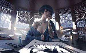 Hintergrundbilder Asiatisches Hübsch Sitzen Tätowierung Tisch Hand Wlop Fantasy Mädchens