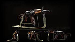 Fotos Sturmgewehr Schwarzer Hintergrund Russischer AK 74 AKS-74U, Kalashnikov Heer