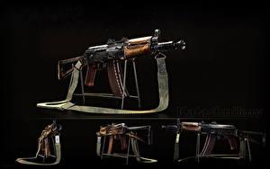 Fotos Sturmgewehr Schwarzer Hintergrund Russische AK 74 AKS-74U, Kalashnikov Heer
