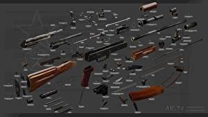 Hintergrundbilder Sturmgewehr AK 74 Russisches Fully disassembled Heer