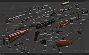 Hintergrundbilder Sturmgewehr AK 74 Russische Fully disassembled Heer