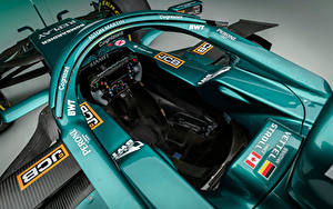 Bilder Aston Martin Formula 1 Grün Von oben Pilotenkanzel AMR21, 2021 automobil Sport