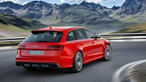 Hintergrundbilder Audi Rot Metallisch Fährt Bokeh Kombi RS6, Avant performance, 2015 Autos
