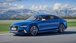 Fotos Audi Blau Fahren Seitlich Bokeh RS7, Sportback performance, 2015 Autos