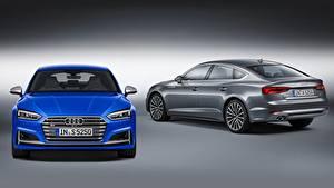 Fotos Audi Grauer Hintergrund 2 Blau Grau Vorne S5, Sportback, 2016, fastback Autos