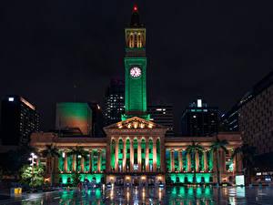 Bilder Australien Brisbane Gebäude Uhr Nacht Straßenlaterne Städte