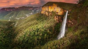Hintergrundbilder Australien Park Berg Wälder Wasserfall Govetts Leap Falls Blue Mountains National Park Natur