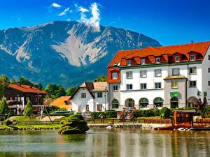Desktop hintergrundbilder Österreich Küste Gebäude Berg Bootssteg Puchberg am Schneeberg Städte