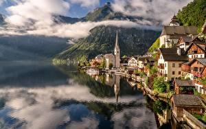Hintergrundbilder Österreich Hallstatt Berg See Haus Wolke Städte