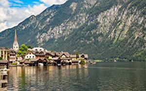 Fotos Österreich See Berg Hallstatt Gebäude Küste Bad Goisern, Gmunden County Städte