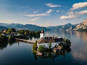 Bilder Österreich See Himmel Berg Kirchengebäude Wolke Alpen Traunsee
