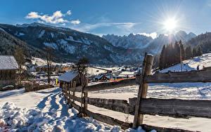 Fotos Österreich Gebirge Alpen Schnee Zaun Sonne Gosau Natur