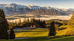 Bakgrunnsbilder Østerrike Fjell Natureng Alpene Gran Tåke