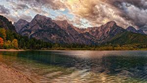 Fotos Österreich Gebirge See Küste Herbst Wolke lake Almsee Natur