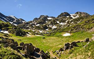 Fotos Österreich Gebirge Stein Grünland Alpen Schnee Natur
