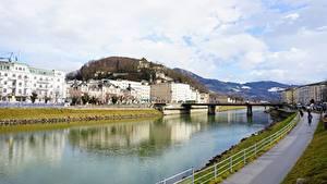 Bilder Österreich Fluss Brücke Salzburg Städte