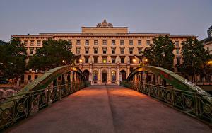 Hintergrundbilder Österreich Wien Haus Brücke Abend Straßenlaterne Zaun Zollamtssteg Städte