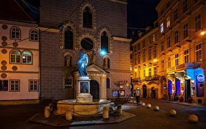 Bilder Österreich Wien Haus Denkmal Steine Nacht Stadtstraße Straßenlaterne