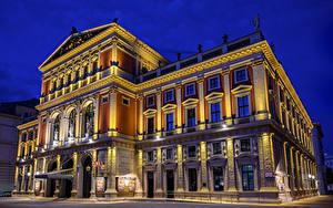 Bilder Österreich Wien Haus Nacht Straßenlaterne Musikverein
