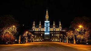 Fotos Österreich Wien Haus Nacht Straßenlaterne Rathaus