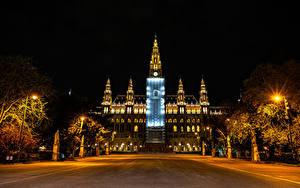 Fotos Österreich Wien Haus Nacht Straßenlaterne Rathaus Städte