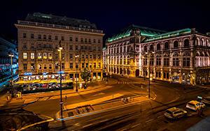Fotos Österreich Wien Haus Straße Nacht Straßenlaterne