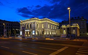 Bilder Österreich Wien Gebäude Straße Nacht Straßenlaterne Städte